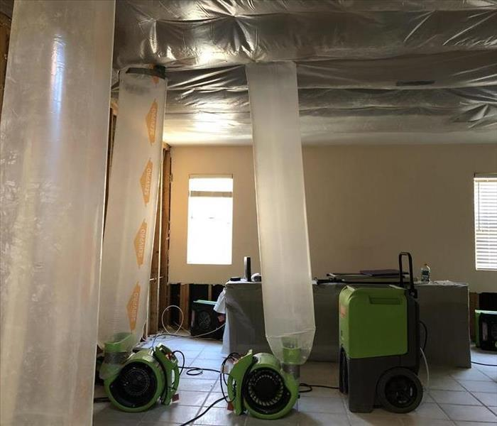 Air mover, Dehumidifier and ducting placement after water extraction and demolition